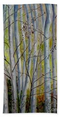Bath Towel featuring the painting Birch Forest by Julie Brugh Riffey