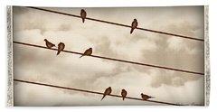 Birds On Wires Bath Towel by Susan Kinney