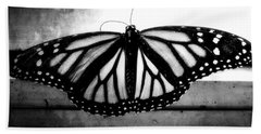 Black Butterfly Hand Towel by Julia Wilcox