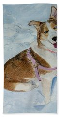 Blue - Siberian Husky Dog Painting Hand Towel