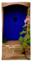 Blue Door And Pink Hollyhocks Hand Towel