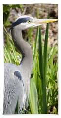 Bath Towel featuring the photograph Blue Heron by Marilyn Wilson
