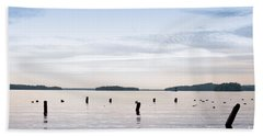 Hand Towel featuring the photograph Blue Lake Muskoka by Les Palenik