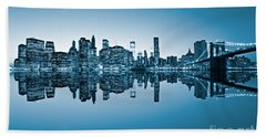Hand Towel featuring the photograph Blue New York City by Luciano Mortula