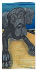 Bath Towel featuring the painting Blue The Great Dane Pup by Ania M Milo