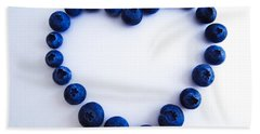 Blueberry Heart Bath Towel by Julia Wilcox