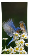 Bath Towel featuring the photograph Bluebirds Picnicking In The Daisies by Randall Branham