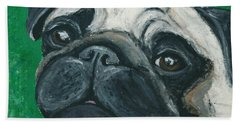 Bath Towel featuring the painting Bo The Pug by Ania M Milo