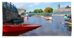 Hand Towel featuring the photograph Boats On The Garavogue by Charlie and Norma Brock