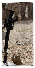 Boots, A Helmet, Rifle And Dog Tags Hand Towel