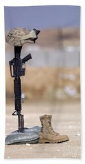 Boots, Rifle, Dog Tags, And Protective Hand Towel
