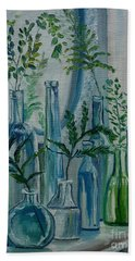 Bath Towel featuring the painting Bottle Brigade by Julie Brugh Riffey