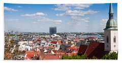 Hand Towel featuring the photograph Bratislava Roofs by Les Palenik