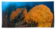 Bright Orange Sponge With Diver Hand Towel