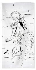Bath Towel featuring the drawing Buganda Kiganda Dance - Uganda by Gloria Ssali