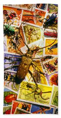 Bugs On Postage Stamps Bath Towel