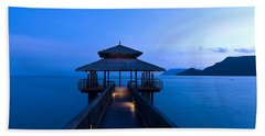 Building At The End Of A Jetty During Twilight Hand Towel