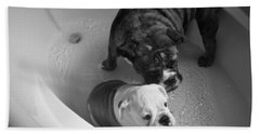 Hand Towel featuring the photograph Bulldog Bath Time by Jeanette C Landstrom