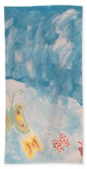 Hand Towel featuring the painting Butterfly Flight by Sonali Gangane