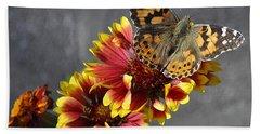 Hand Towel featuring the photograph Butterfly On A Gaillardia by Verana Stark