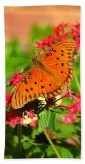 Bath Towel featuring the photograph Butterfly On Pentas by Carla Parris