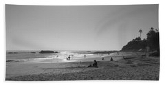 Bw Sunset Reflection At Laguna Beach With Inscription Bath Towel by Connie Fox