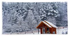 Cabin In The Snow Hand Towel