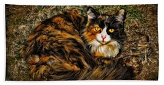 Calico Cat Hand Towel by Joan  Minchak