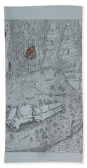 Bath Towel featuring the drawing Canine Skull And Butterfly by Daniel Reed