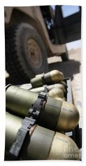 Cans Of Opened 40 Mm Grenades Bath Towel
