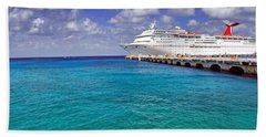 Carnival Elation Docked At Cozumel Hand Towel by Jason Politte