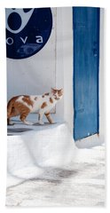 Cat In Mykonos Hand Towel