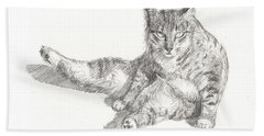Cat Sitting Hand Towel