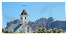 Hand Towel featuring the photograph Chapel In Superstitions by Penny Meyers