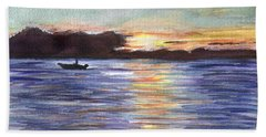 Hand Towel featuring the painting Chesapeake Dusk Boat Ride by Clara Sue Beym