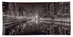 Chicago River East Bw Hand Towel