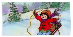 Bath Towel featuring the painting Christmas Joy Child On Sled by Glenna McRae