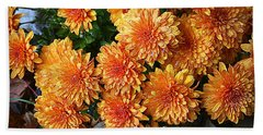 Chrysanthemums Bath Towel by Kay Novy