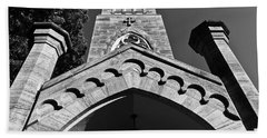 Church Facade In Black And White Hand Towel
