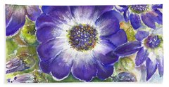 Hand Towel featuring the painting Cineraria Of South Africa  by Bernadette Krupa