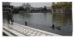 Bath Towel featuring the photograph Clearing The Sarovar Inside The Golden Temple Resorvoir by Ashish Agarwal