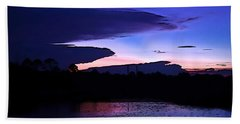 Hand Towel featuring the photograph Clouded Sunset Over The Tomoka by DigiArt Diaries by Vicky B Fuller
