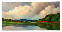 Hand Towel featuring the painting Clouds And Reflections by Randol Burns