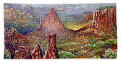 Hand Towel featuring the painting Colorado National Monument by Lou Ann Bagnall