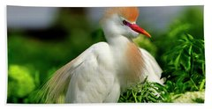 Colorful Cattle Egret Hand Towel