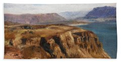 Bath Towel featuring the painting Columbia River Gorge I by Lori Brackett