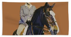 Concentration - Hunter Jumper Horse And Rider Bath Towel by Patricia Barmatz