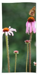 Coneflowers And Butterfly Hand Towel