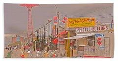 Coney Island Boardwalk Hand Towel by Mark Gilman