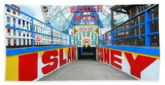 Coney Island Sign Hand Towel by Mark Gilman
